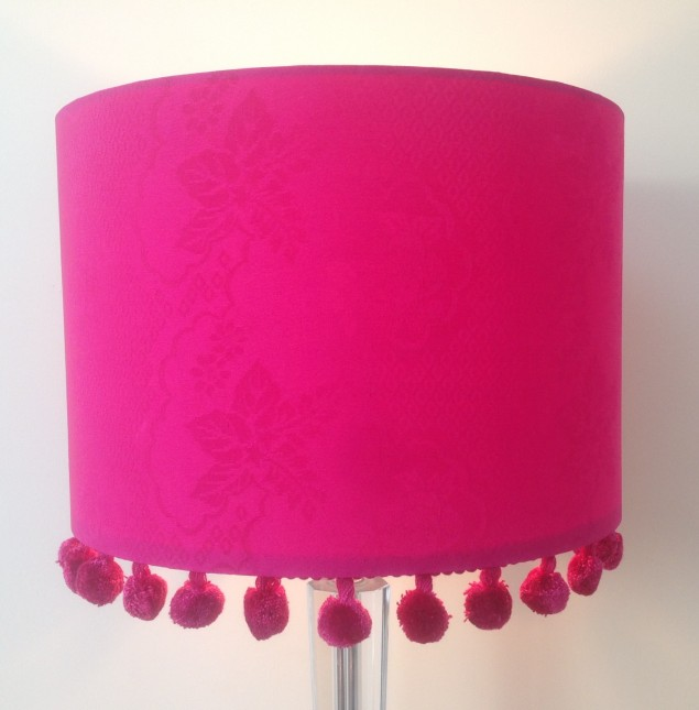Bespoke design and colour match lampshade with pom poms